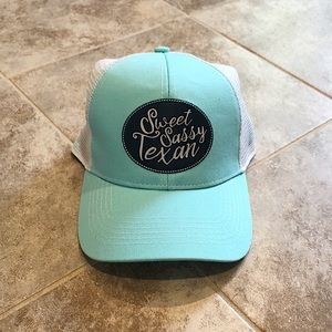 🆕 Sweet Sassy Texan aqua blue snap back cap hat